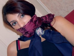 Horny Girlfriends bound and blindfolded with Scarves