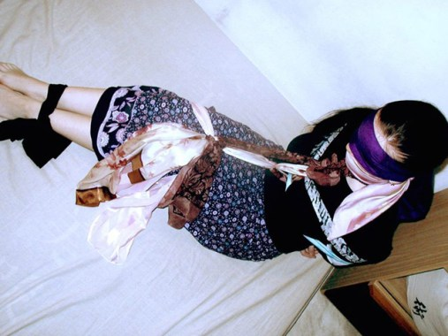 Hot young Girlfriends look happy in Scarf Bondage