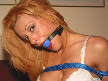 Sexy Blond Wife tightly tied and gagged in white Lingerie