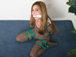 Sexy Girlfriend tied up with green Rope and gagged