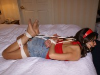 Sweet young Brunette is hogtied and Pony gagged