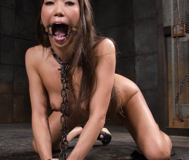 Kalina Ryu Trying To Scream And Beg While Chained And Wearing An Uncomfortably Large Jaw