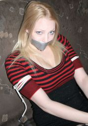 Awesome Young Girlfriend in Stockings Tape Gagged and Tightly Bound