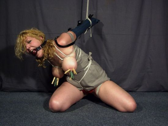 Busty Slave Gets Ball Gagged, Bound and Humiliated for Discipline