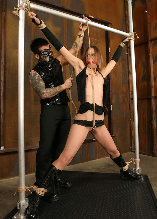 Cute Brunette Amateur Restrained, Gagged and Tortured in Dungeon