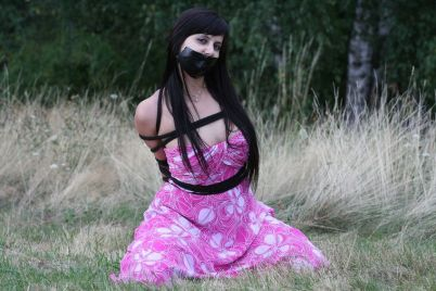 Cute Brunette Girlfriend Bound and Tape Gagged Outside for Discipline