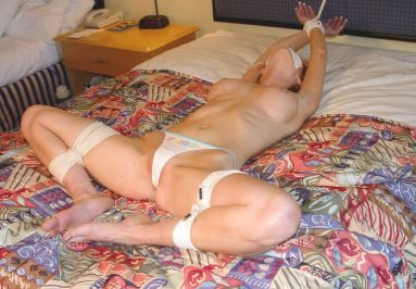 Cute Young Girlfriend Restrained, Gagged and Spread in a Hotel Room