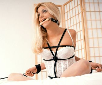 Gorgeous Blonde in Lingerie Gets Restrained and Bit Gagged on the Bed