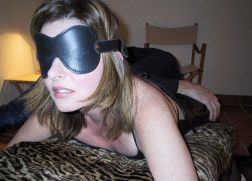 Gorgeous Brunette in Leather Gets Bound, Blindfolded and Trained Hard