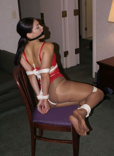 Gorgeous Brunette in Red Lingerie Bound and Ball Gagged