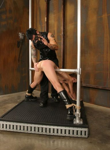 Gorgeous Brunette Restrained, Spanked and Disciplined in Dungeon