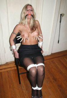 Gorgeous Young Blonde Gets Tightly Bound, Ball Gagged and Tortured