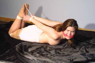 Hot Brunette in Garters Gets Cleave Gagged and Hogtied for Punishment