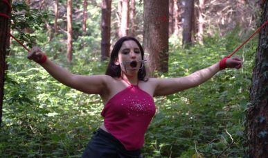 Petite Brunette Girlfriend Stripped and Disciplined in the Woods