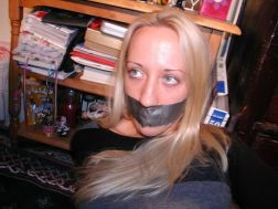 Pretty Girlfriend Gets Tape Gagged and Bound at Home by Boyfriend