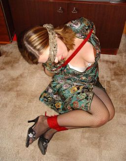 Pretty Young Amateur Gets Blindfolded and Bound at Home