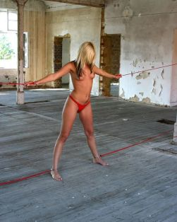Sexy Blond Amateur Restrained, Harnessed and Gagged for Discipline