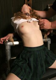 Sexy Blond Schoolgirl Restrained and Dominated Hard in the Dungeon