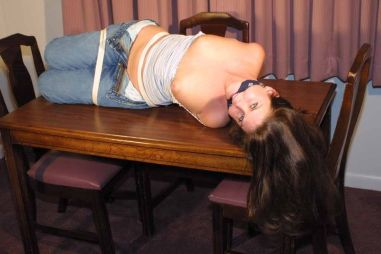 Sexy Brunette Gets Hogtied, Cleave Gagged and Humiliated at Home