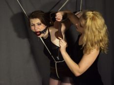 Sexy Young Slave Bound and Disciplined Hard by a Beautiful Mistress