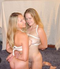 Two Cute Young Blondes Get Naked and Bound Together at Home for Fun