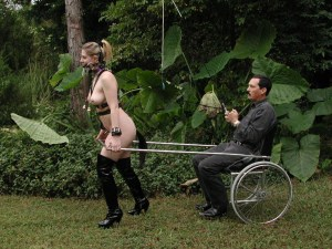 Woman dressed up as pony taking her man for a ride in chair with reins