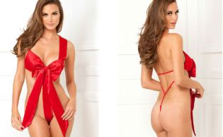 Rene Rofe Unwrap Me Red Satin Bow Teddy