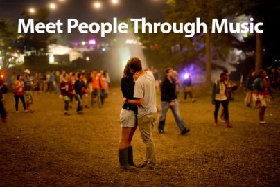 Tastebuds advertisement of man and woman kissing at festival