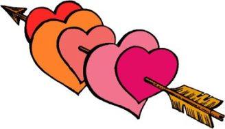 Multiple hearts on a Cupid's arrow