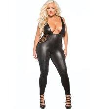 Plus size low cut wet look catsuit