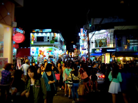 This is a typical evening party in a great disctrict of Seoul. I have had so much fun here!  Teaching ESL in Korea provides many benefits.  The nightlife is wonderful in Korea.
