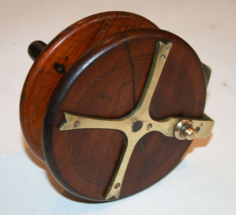 Antique Nottingham Starback Fishing Reel  Wood and Brass