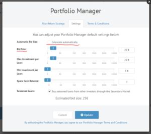 Portfolio Manager Bid Size by Default 25 EUR