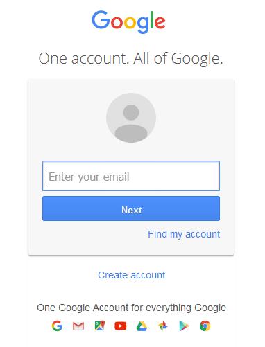 Gmail login window