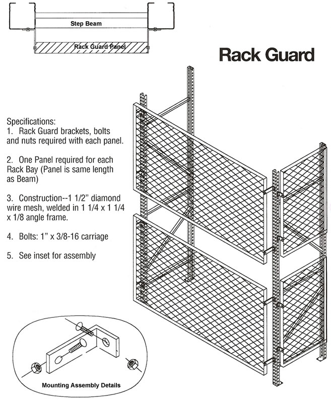 Rack Guard, Steel Rack Guards, Rack Safety, Welded Wire
