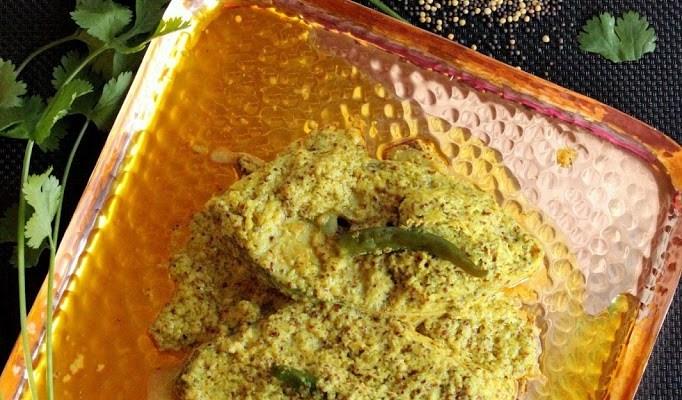 Narkal- Doi- shorshe Ilish Bhapa ( Steamed Hilsa in Coconut -mustard-yogurt gravy)