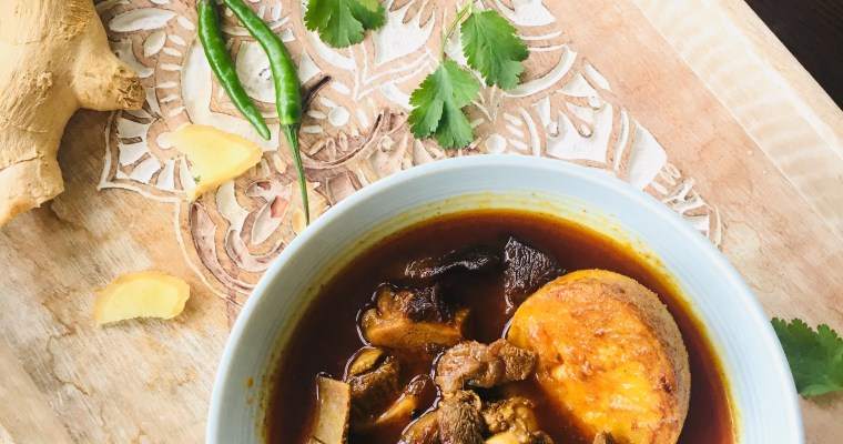 "Niramish Mangsho"" or ""Bhoger Mangsho (Mutton cooked without onion and Garlic)"