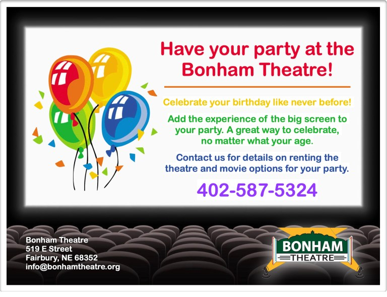 Have your birthday party at the Bonham Theatre!