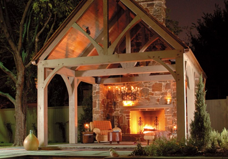 Backyard Covered Shelter House With Fire Pit