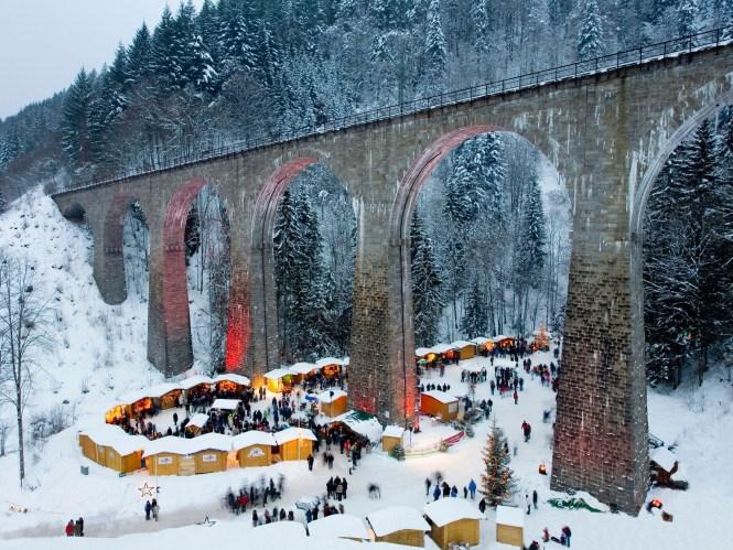 Christmas markets, Ravenna Bridge, Ravenna Gorge, Ravenna gorge, Schwarzwald, Black Forest, Baden-Wurttemberg, Germany