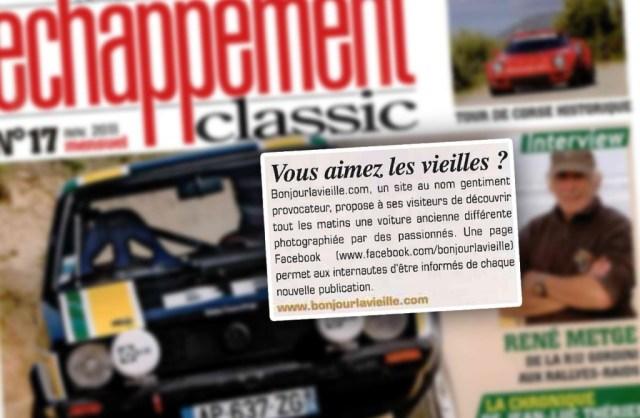 Aperçu de la brève Bonjourlavieille dans le magazine Échappement Classic d'octobre 2011