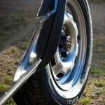 Gros plan sur la roue avant droite de la Golf GTI