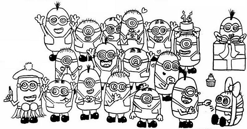 Kleurplaat Verjaardag Minions Kids N Fun De 36