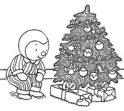 Coloriage de Noël: T'choupi trouve ses cadeaux au pied du sapin