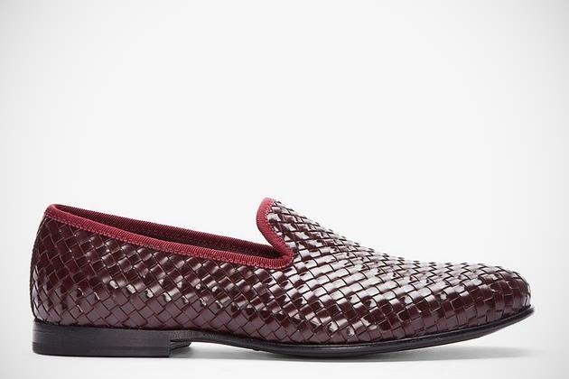 Burgundy Leather Razor Blade Slippers