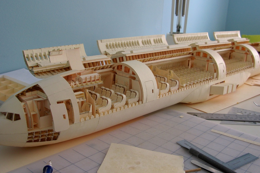 160-Scale Boeing 777 Built from Paper Manilla Folders (12)