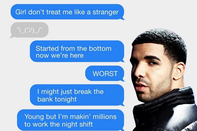 This App Texts Only Drakes Best Lyrics