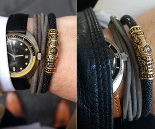 FACA 18k Gold Bracelet with Black Leather (1)