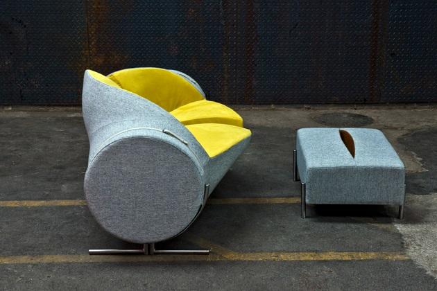 Slashed Sofa and Ottoman by Charlotte Kingsnorth