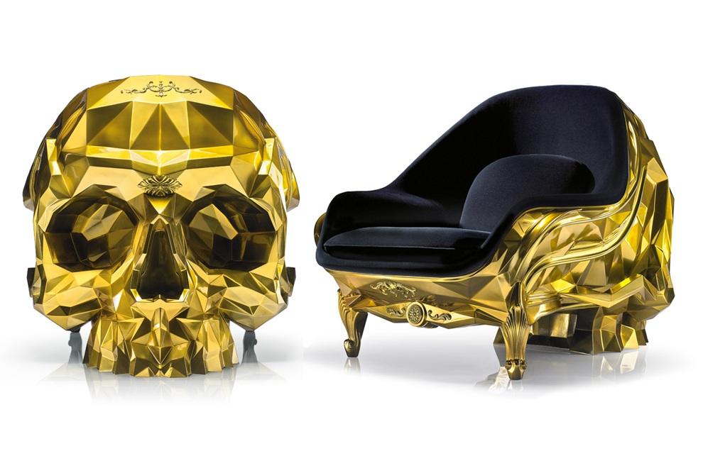 Gold Skull  24k Gold Plated Armchair by Harow  Bonjourlife